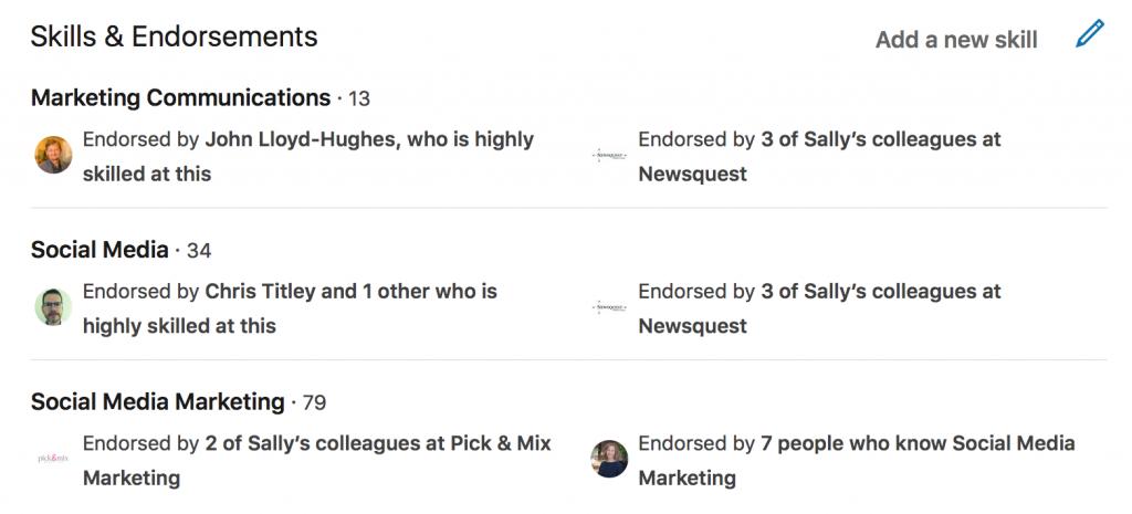 Skills and endorsements on LinkedIn