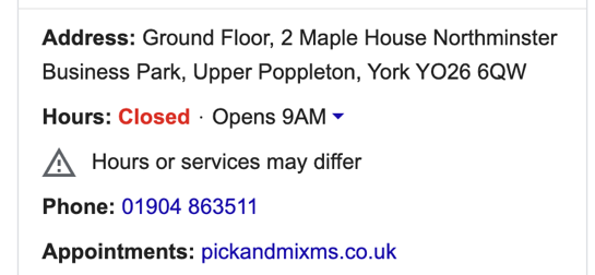 Pick & Mix Marketing Google My Business Open Hours