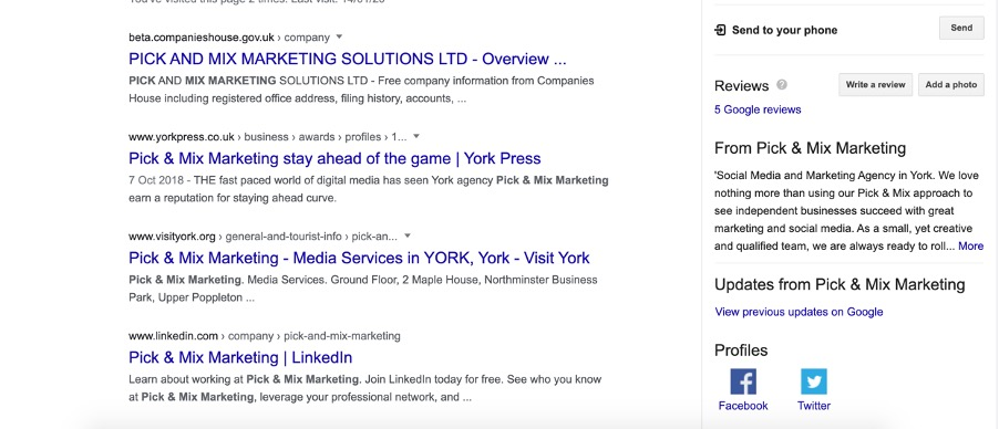 Pick & Mix Marketing Google My Business Pane