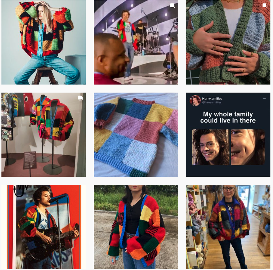 Collage montage of pictures of Harry Style's iconic cardigan